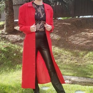 Vintage red wool trench coat